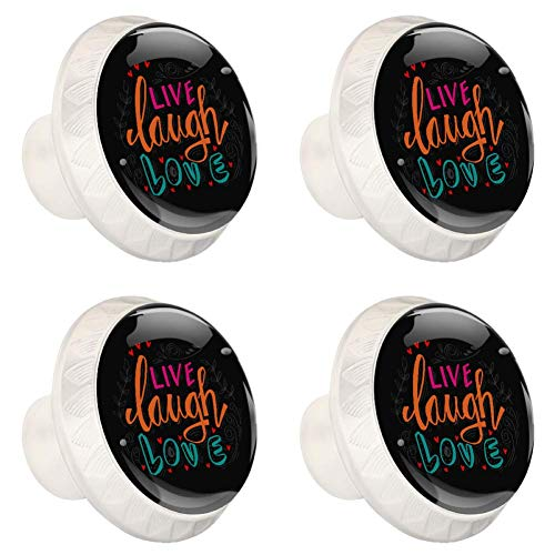 Drawer Pulls Cabinet Handles with 8 Mounting Screws for Home DIY Porch Bathroom Kitchen Study Knobs Live Laugh Love Lettering