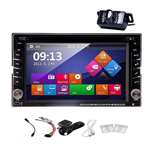 Einbau Doppel 2DIN Auto GPS Navigation DVD Player mit Touch Screen LCD Monitor, 15,7cm pupug Auto Stereo-INDASH Bluetooth Autoradio Player unterstützt FM/AM RDS Radio Auto Audio Video-Player + kostenloser Kamera -