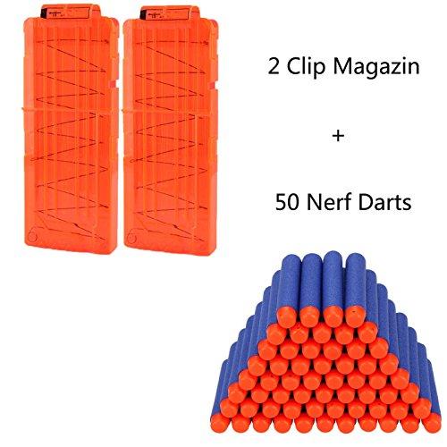 2 Stücke Soft Bullet Magazin für 12 Darts und 50er Nerf Darts für Nerf N-Strike Elite