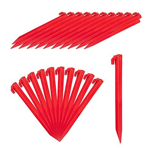 Relaxdays Heringe, 32er Set, leichte Zeltheringe, weiche & sandige Böden, 31 cm lang, Kunststoff, Bodenanker, rot