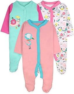 ZEVONDA Baby Boys Girls Bodysuit - Short Sleeve/Long Sleeve/Romper Sleepsuit Pajamas Set 100% Cotton for Newborn 0-18 Months, Pack of 3/5
