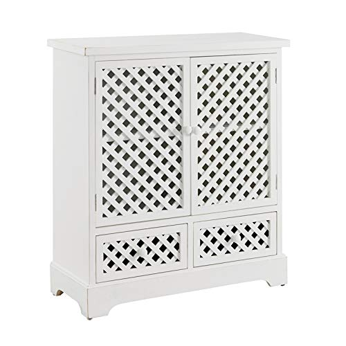 Powell Kameron Distressed Wood Two Door Two Drawer Cabinet in White