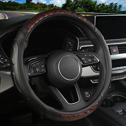 Microfiber Leather Car Steering Wheel Cover, Universal 15 Inch Breathable Anti-Slip Auto Steering Wheel Protector (Black-Brown)