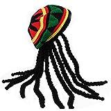HZYFP Reggae Jamaican Style Rasta Hat Dreadlocks Wig Hat Crocheted Knitted Beret Cap Long Black Hair Costume