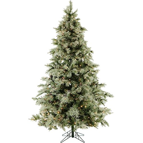 Fraser Hill Farm, Clear 7.5-Foot Pre-Lit Glistening Pine Frosted Christmas Tree, LED Lights, FFGP075-5GR, Ft