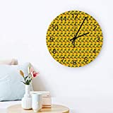 Peacock Decor Wall Clock Quiet Non-Ticking, 12' Wooden Clock Battery Operated for Living Room, Office, Home Decor & Gift Peacock Feathers Ethnic Design