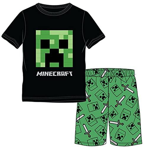 Kinder Pyjama kompatibel mit Minecraft schwarz - grün Creeper Kinder Jungen und Mädchen kurzer Schlafanzug Gr.140-10 Jahre