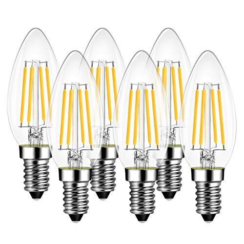 Lampadine di Filamento a LED E14 – 6W Equivalenti a 60W, 806 Lumen, 2700K, Luce Bianca Calda, LVWIT Forma a candela C35, Stile Vintage Retro', Non Dimmerabile - Confezione da 6 Pezzi