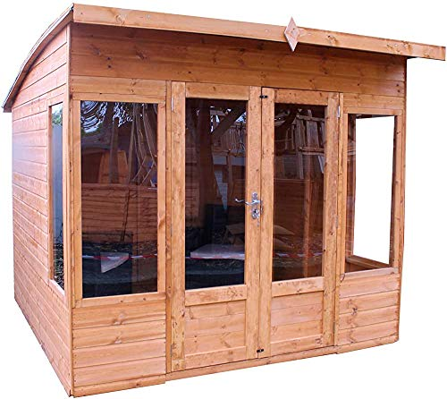 Outdoor Pavilion Studio, Office, sunroom, Wooden Gazebo 8x8 Outdoor Garden Room Building,Brown