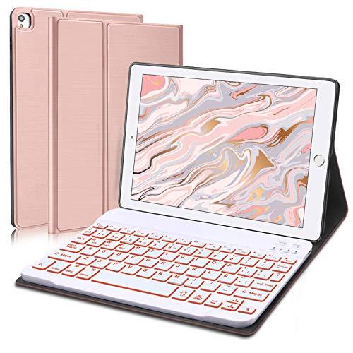 Funda con Teclado Retroiluminado para iPad 10.2' 9.a/8.a/7.a Generación,iPad Air 3.a Generación,iPad Pro 10.5'-Teclado Bluetooth Desmontable con Retroiluminación de 7 Colore y Cubierta Protectora