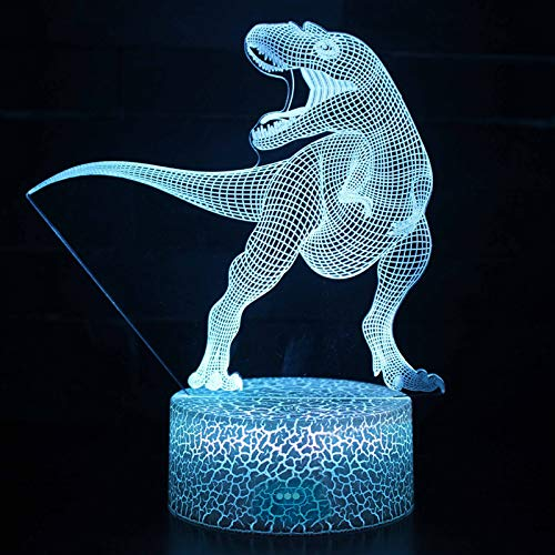 Synchain Dino-Licht 3D, Dinosaurier LED Nachtlicht für Kinder, USB-Lade Optische Täuschung Lampe, die Schlafzimmer-Dekoration für Kinder Weihnachten Halloween-Geburtstagsgeschenk Beleuchten (A)
