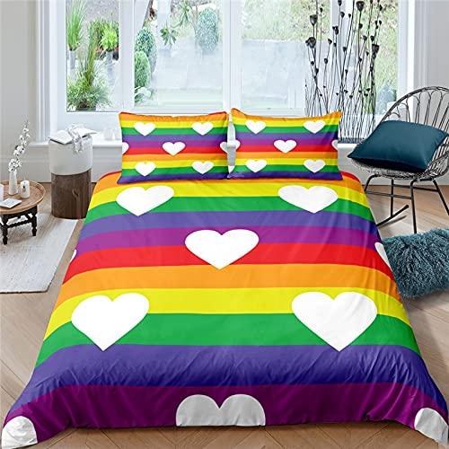 NBVGHJ 3D Rainbow Heart Love Print 3 Piezas Juego De Cama para Pareja Cómoda Funda Nórdica Funda De Almohada Textiles para El Hogar Queen Y King Size 145×200CM