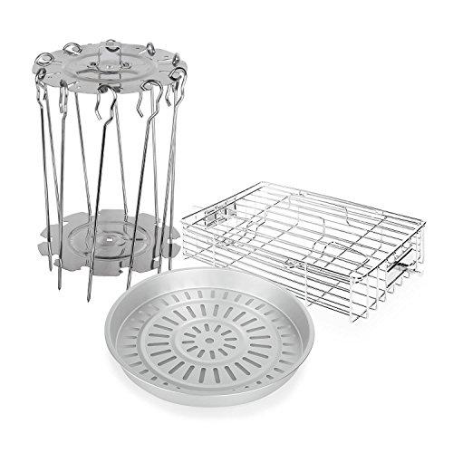 Klarstein VitAir Zubehör-Set 3-teilig - Dampfgareinsatz, Steak-Käfig, Drehspießrotator, 10x Schaschlik-Spieße, passend für Klarstein VitAir und Klarstein VitAir Turbo Luftfriteusen, silber