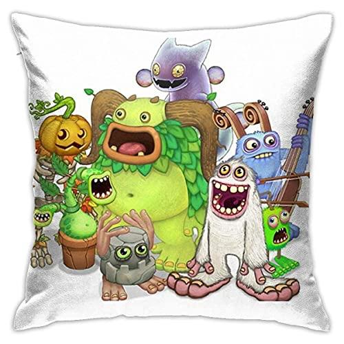 Xuanyang Fundas de Cojines Throw Pillow Case Decor Funda de Almohada Funda de cojín para sofá Cama Coche 18 X 18 Pulgadas My Singing Monsters Characters