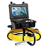 Eyoyo Pipeline Endoscope Inspection Camera 100M/328ft Underwater Industrial Pipe Sewer Drain Wall Video Plumbing System with 9 Inch LCD Monitor 1000TVL DVR Recorder Snake Cam with 8GB SD Card Included