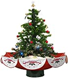 "Fraser Hill Farm 29"" Musical Tree with Red Base and Snow Function"