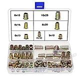 Assortimento di dadi filettati con testa piatta, 100 Pezzi Vite Esagonale per Mobili in lega di Zinco, Kit di Strumenti per la Classificazione dei Dadi per Mobili in legno (M10, M8, M6, M5, M4)