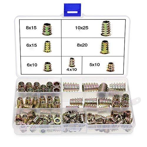 100 Pieza Juego de tuercas de inserción de aleación de zinc, Con caja de plástico transparente,Para la instalación de la industria de sujetadores mecánicos,muebles (M10, M8, M6, M5, M4)