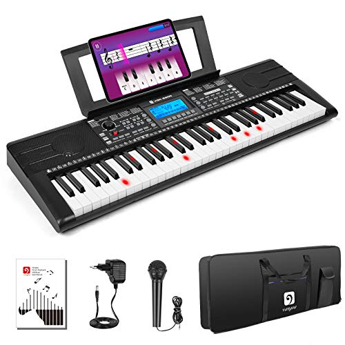 Vangoa VGK6200 Piano Keyboard, 61 Light Up Keys Electric Piano with Midi Port, Smart LCD Display, 3 Teaching Modes, 40 Demo Songs, Microphone, Gig Bag for Beginners Adults Kids