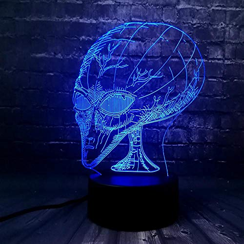 Lámpara 3D de noche LED Extraterrestre Decoración Escritorio de Mesa Lámparas de Ilusión Óptica 7 Luces Cambiantes de Color Regalo de niño