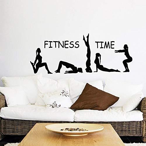 WTTTL Wall sticker Fitness Time Wall Decal Deporte Niñas Gimnasta, Yoga Art Wall Stickers Gym Home Decoración Vinilo Pared Art145*57cm