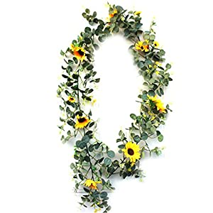 Artificial Eucalyptus Garland with Sunflower Flowers 5.9FT Wedding Table Garlan Ideal Spring Summer Decorating for Home Wedding Valentine Festival Celebration Front Door Window Party Decoration