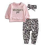 Geagodelia - Conjunto de 3 piezas para bebé niña, sudadera con estampado de leopardo, jersey de manga larga rosa + pantalones de leopardo + diadema de 0 a 24 meses Rosa 0-6 meses