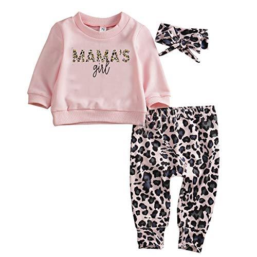 Geagodelia - Conjunto de 3 piezas para bebé niña, sudadera con estampado de leopardo, jersey de manga larga rosa + pantalones de leopardo + diadema de 0 a 24 meses