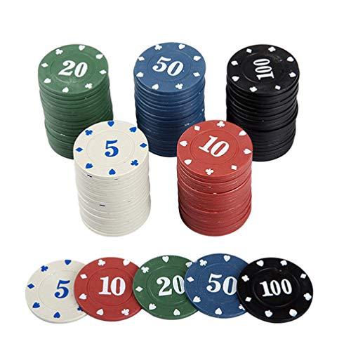 TOYANDONA 100 Stück Poker Chip Set 4 Farben Poker Chips mit Acryletui für Partyspiel ( Mehrfarbig )