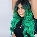 Lativ Long Wavy Wig for Women Ombre Green Middle Part Wigs Long Curly Synthetic Heat Resistant Hair with Natural Hairline for Cosplay Party Everyday Use (Ombre Green)