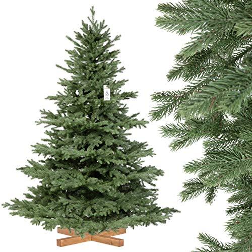 FairyTrees Abete Alpino Premium, con Supporto in Legno, Albero di Natale Artificiale, 180cm