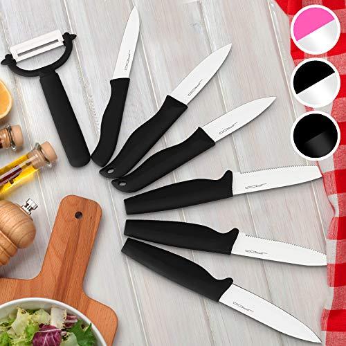 Jago Set de 7 Couteaux - avec Revtement Cramique, Couleurs au Choix - Couteaux de Chef, Couteau de Cuisine, Couteau de Coupe