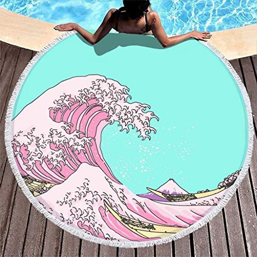 Hothotvery Toallas de playa redondas con borlas grandes olas antes de Kanagawa Rosa Japonesa Impresión Multiusos Toallas de baño para Mujeres White 150 cm