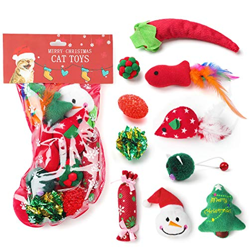 Legendog 10Pcs Cat Toys Christmas Stocking Cat Gifts Set, Cat Catnip Toys Cat Toys for Indoor Cats Cat Interactive Toys for Kitten and Cats