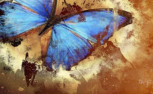 Forwall Fototapete Vliestapete Wanddeko Schmetterling Kunst - Gemälde Kunstwerk Natur Blau Moderne Wanddekoration Wandbild 192VEP 250cm x 104cm