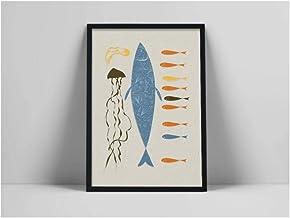 Zhaoyangeng Wandkunst, motief: kwallen en vissen, marineblauw, abstract, moderne muurkunst, 50 x 70 cm, zonder lijst