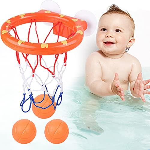 HENGBIRD Wasserspielzeug badewannenspielzeug,Mini basketballkorb mit 3 Basketbälle Basketball Brett und starken Saugnäpfen für Jungen Und Mädchen Spielzeug Geschenk(1 Korb + 3 Bälle)