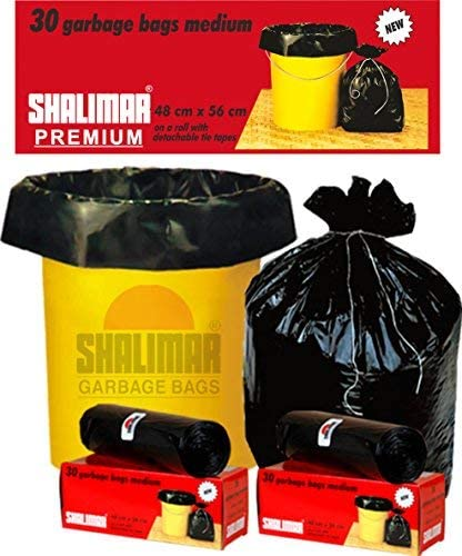 Shalimar Premium OXO - Garbage Bags (Medium) Size 48 cm x 56 cm 6 Rolls (180 Bags) (Black Colour)