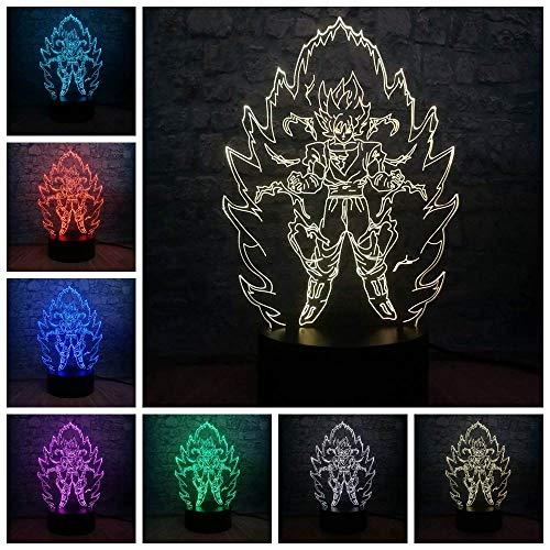 GYWLE Dragon Ball Z Lámpara Super Saiyan Figura de acción Luz LED Lámpara de mesa para niños para decoración de dormitorio -Black_base_3_Controller_7_Color