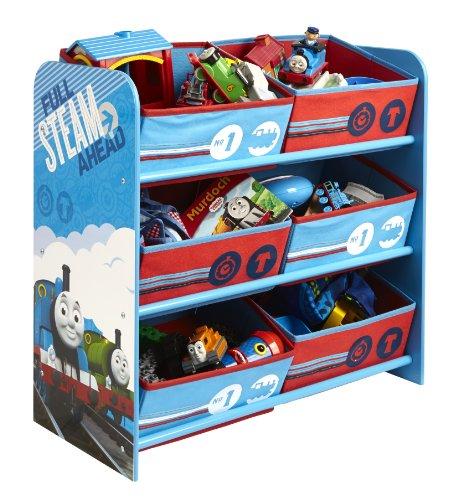 Thomas le train Rangement en Bois avec 6 paniers Thomas et Ses Amis, Bleu, 60 x 63,5 x 30 cm