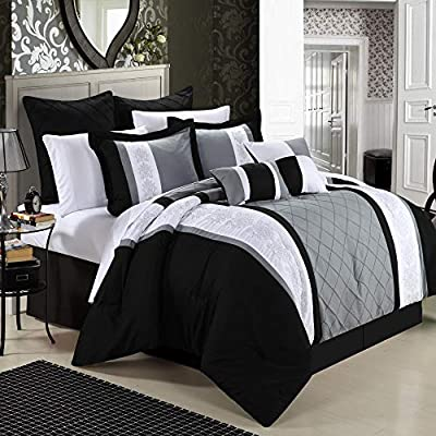 Chic Home 8-Piece Embroidery Comforter Set, Queen, Livingston Black from CHIRF