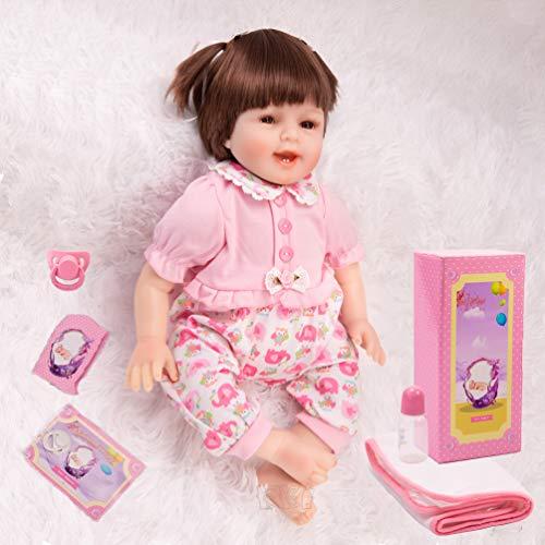 KKI Realistiche Bambole Reborn, Bambola Reborn Ragazza con Sorriso, Bambola in Vinile Fatta a Mano in Silicone Come Regali per Ragazze di età Superiore ai 3 Anni, Certificazione EN71
