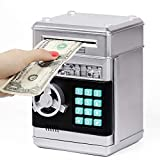 Refasy Kids Piggy Bank,Kids Safe Piggy Bank for Girls Money Saving Box Kids Toys Password Cash Coin Can ATM Bank for Children Great Christmas Birthday Gift Toy for Kids Silver