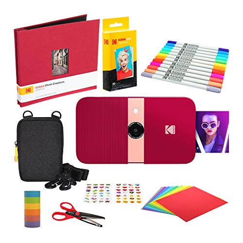 KODAK Smile Cámara Digital de impresión instantánea (Rojo) Kit de Bloc de Notas con Estuche Blando