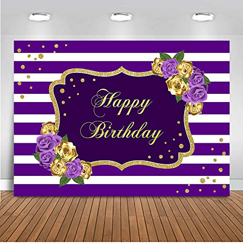 Mocsicka Happy Birthday Backdrop Gold and Purple Floral Birthday Party Decorations Photo Studio Backdrops Purple White Stripe Gold Dots Sweet 16th Birthday Photography Background (7x5ft)
