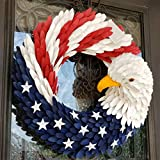 American Eagle Wreath, Americana Patriotic Wreath USA July 4th Wreath, Glory Patriotic American Flag Wreath for Front Door Window Wall Decoration (15' )