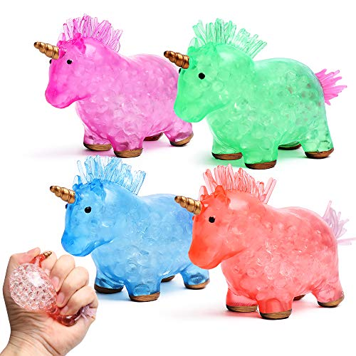 Sensory Toy Unicorn Squishy Stress Balls 4 Pack, Kids and Adults Anti-Anxiety, Therapy, and Stress Relief Fidget Toys Best for Boys and Girls with Autism, Toddler Party Favors and Gifts with Gel Beads