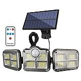 QREZ Luz Solar Exterior, Foco Solar Exterior 122 LED con Sensor...