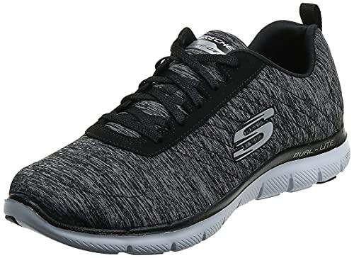 Skechers Women's Flex Appeal 2.0 Fashion Sneaker, Black/White Multi, 9 M US