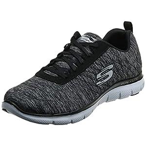 Skechers Sport Women's Flex Appeal 2.0 Fashion Sneaker, Black/White Multi, 8 M US